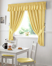 Gingham Check Kitchen Curtains Ready Made Pencil Pleat Yellow Net Curtain