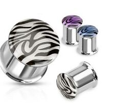 """PAIR of GLOW IN THE SUN TIGER ANIMAL PRINT EAR PLUGS STEEL SUMMER TUNNELS 2g-1"""""""