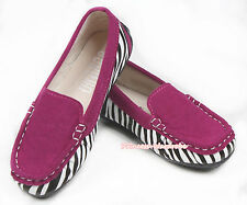 Casual Elegant Wine Red Zebra Slip On Deck Boat Shoes Girls Kids Children SE018