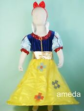 HALLOWEEN PARTY SNOW WHITE PRINCESS DRESS UP COSTUME RED BOW HEADBAND 1-10Y