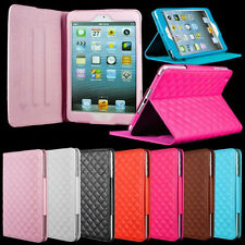 7 Colors Magnetic Sheepskin Quilted PU Leather Case For Apple iPad Mini