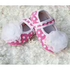 Newborn Baby White Rosettes Pink White Polka Dots Crib Shoes Minnie Mouse 0-12M