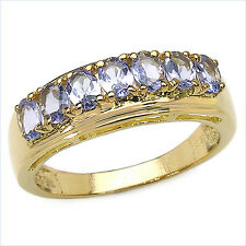 14K GOLD PLATED STERLING SILVER 7 STONE TANZANITE ETERNITY RING
