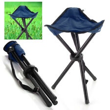 Outdoor Hiking Fishing Lawn Portable Pocket Folding Chair With 3 Legs Stool Blue