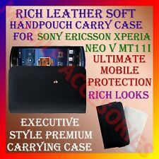 RICH LEATHER SOFT CARRY CASE of SONY ERICSSON XPERIA NEO V MT11i HANDPOUCH COVER