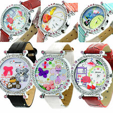 NEW Flower Butterfly Crystal Leather Band Womens Quartz Dial Wrist Watch Ladies