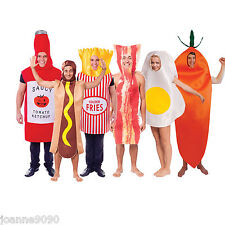 ADULT BACON EGG CARROT HOTDOG FRIES KETCHUP FANCY DRESS COUPLES COSTUME OUTFIT