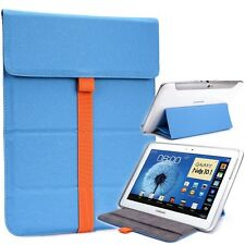 New! Kroo Leather Tablet Sleeve Pouch Case Cover Guard with Built in Stand Blue