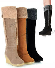 Women's Sexy Knee High Heel Winter Wedge Boots Fashion Shoes US Size 4-7.5 Y543