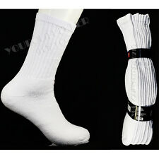 9-11  10-13  4 Pairs Athletic Heavy Weight Crew Socks Men's White Cotton Unisex
