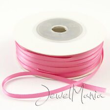 "50 Metres Of 3mm (1/8"") DOUBLE FACED Sided SATIN RIBBON Reel - Many Colours"