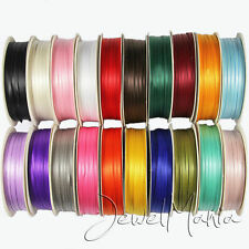 """50 Metres Of 3mm (1/8"""") DOUBLE FACED Sided SATIN RIBBON Reel - Many Colours"""