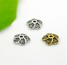 Free Ship 300Pcs Tibetan Silver/Gold Flower Bead Caps 11x3mm
