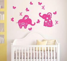 Baby elephants & Butterflies removable wall stickers for Nursery or kids room