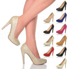 WOMENS LADIES HIGH HEEL CONCEALED PLATFORM COURT SHOES PARTY PROM PUMPS SIZE