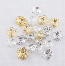 200pcs New Gold/siver/Gunmental Black Plated Five Flower Bead Caps 10 mm