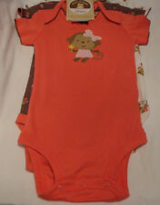 INFANT GIRLS CARTER'S  3 SHORT SLEEVE BODYSUITS MONKEY & FLOWERS SZ 03-24 MONTHS