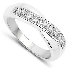 STERLING SILVER DIAMOND CHANNEL SET ETERNITY RING SIZE H - W ANNIVERSARY GIFT