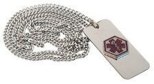 "Medical Alert Necklace Emergency With Wallet Card 24"" Hypoallergenic Chain NEW"