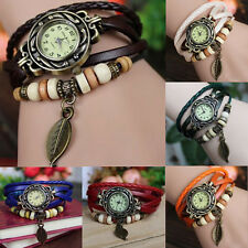 7 Color Vintage Lady Wrap Around Quartz Leather Band Butterfly Bracelet Watch