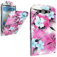 PINK AND BLUE FLOWER DESIGN LEATHER FLIP CASE COVER POUCH FOR SAMSUNG S3 i9300