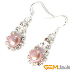 Fashion 7-8mm Freshwater Pearl Beads GP Rhinestone Dangle Hook Jewelry Earrings