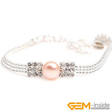 Natural 8mm Freshwater Pearl Beads White Gold Plated Linking Jewelry Bracelet