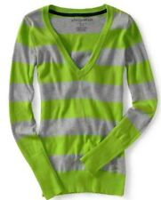 NEW Aeropostale Aero Womens Lime Green Bar Stripe V Neck Pullover Sweater Sz XL