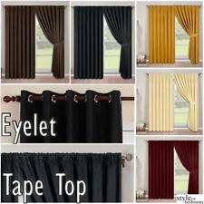 Pair Fully Lined Faux Silk Plain Curtains + FREE Tie Backs in Eyelet or Tape Top