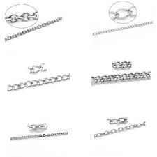 10M Hot Stainlesss Steel Link-Opened Curb Chains Findings Silver Tone M1143