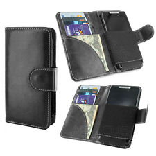 Black Wallet Case Flip Cover Pouch w/ 4 Card Slots for Cell Phone / Smartphone