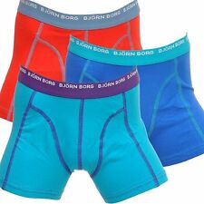 Bjorn Borg 3 To Go Boys Boxers Briefs Trunks, Blue/Red/Turquoise, Multipack