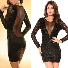 Sexy Women Sequin Mesh Low Back Dress Cocktail Party Club Stunning Bodycon Dress