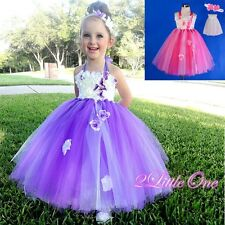Tulle Halter Dress Up Wedding Flower Girl Pageant White Size 12 months -5 #256