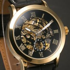 Men Gold Case Hollow Skeleton Auto Mechanical Leather Sport Watch