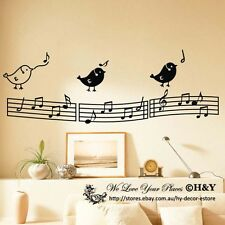 Music Notation Notes Birds Kid Removable Wall Art Stickers Vinyl Decal Decor DIY