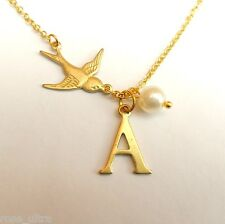 Personalised Initial Alphabet Letter Necklace, Rockabilly Swallow, Vintage Bird
