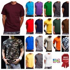 Men's T-Shirt HEAVY WEIGHT Plain Crew Neck Camo Army Tee Lot BIG & TALL S-7X