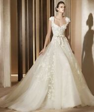 HOT White/Ivory Lace Bride Wedding Dress Ball Bridal Gown Stock 6 8 10 12 14 16