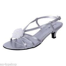 Cheap Clarice Womens Low Heel Comfortable Bridal Debutante Shoes Amber Silver