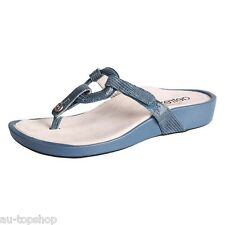 Cheap Aetrex Womens Arch Support Orthtoic Leather Thong Sandals Labella BLUE