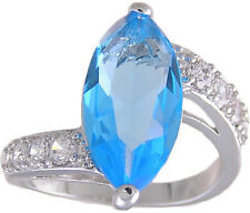 Blue & Clear CZ Ring Size 5 6 7 8 9 10 Affordable Cubic Zirconia Jewelry
