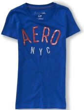 NEW Blue Aeropostale Womens Sequined Aero NYC Graphic Cotton Tee Shirt L XL XXL