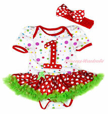 Red White Dot 1ST White Rainbow Dot Bodysuit Minnie Green Baby Dress NB-18Month
