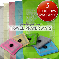 Pocket Prayer Mat Muslim Islamic Travel Rug with Compass +Metal Corners!