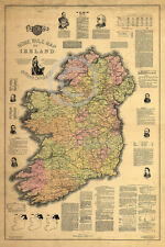 1893 Beautiful Home Rule IRA Map Free Ireland Vintage