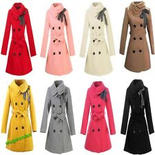 Hot sell Women's Woolen Warm Winter Long Coat Jacket Trench Slim Fit 8 Color