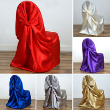 10 pcs SATIN UNIVERSAL CHAIR COVERS Wedding Party Ceremony Discounted Supplies