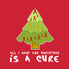 Womans All I Want for Christmas is a Cure T-Shirt Cancer