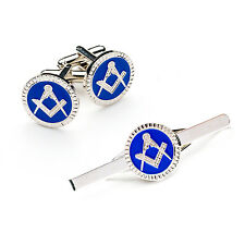 Super Quality Masonic Craft Blue Silver Tie slide and CuffLink Set Masons Gift